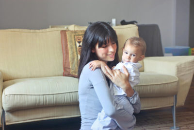 woman with child inside comfortable