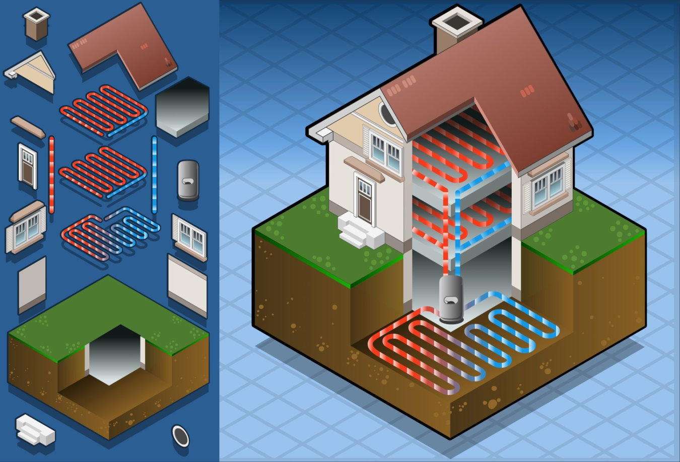 Geothermal installation heating & cooling