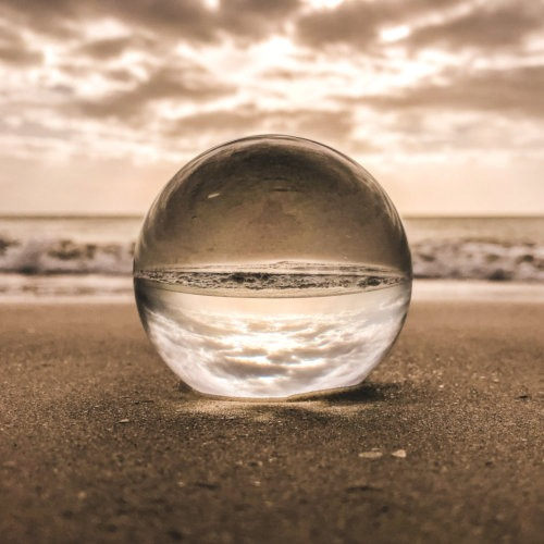 glass on sand