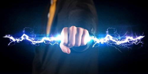 lightning bolt in hand