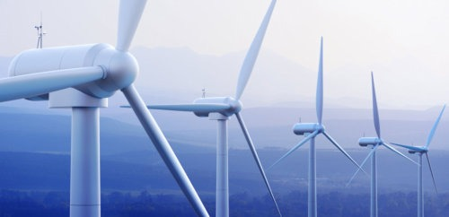 wind turbines in the sky